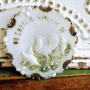 Antique Victorian Milk Glass Plate With Chickens